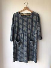 White Stuff Size 14 Grey Blue Tunic Dress Owl Print Cotton Pockets