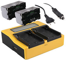 2 Akku NP-F750 4400mAh + PATONA Dual LCD Display Ladegerät Li-Ion AKKUPACK