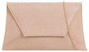Beige Clutch Bag Nude Faux Suede Evening Bag Light Brown Envelope Shoulder Bag