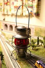 B&O Adams and Westlake Lantern with Raised and Etched Red Globe