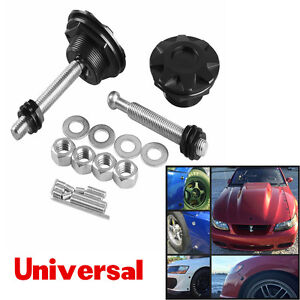 A Pair Black Universal Metal Push Button Billet Hood Pins Lock Locking Quick Pin