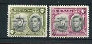 Grenada KGVI 1938-50 3d & 6d p12.5 SG158/9 CW7a/8 MH both 'line through motto'