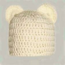 BOYS GIRLS CHUNKY TEDDY BEAR BEANIE HAT WITH EARS baby crochet photo prop cream