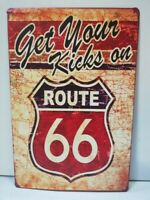 Rare plaque tôle GET YOUR KICKS ON ROUTE 66 US  20X30 HARLEY CADILLAC CHEVROLET