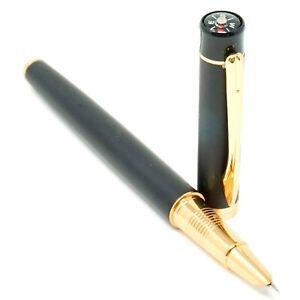 Jinhao #001 Compass Matte Black Fountain Pen, FINE Nib Gold Trim - UK!