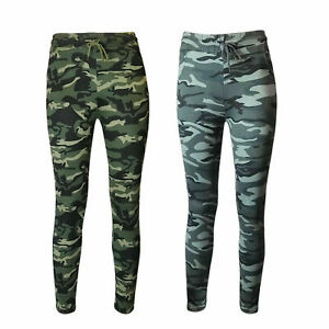 NEW LADIES CAMOUFLAGE COMBAT STRETCH CASUAL TROUSER WOMEN SLIM FIT SPORT JOGGERS