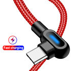 90° Right Angle Micro USB LED Fast Charging Data Sync Cable For Android Type C