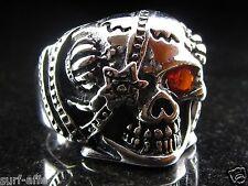 Massiver Edelstahl Totenkopf Ring Skull poliert silberfarbig massiv Biker Gothic