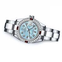 Rolex Blue Mother of Pearl Baguette 26mm Datejust SS Diamond & Ruby Bezel