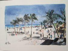 "HOLLYWOOD BEACH, HOLLYWOOD, FL / WATERCOLOR PRINT / 11 3/8"" X 8"" / MIMI DAVIS, A"