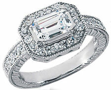0.47 ct Semi-mount Round DIAMOND Solitaire (for Emerald cut) 14k White Gold Ring
