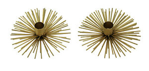 Gold Metal Spiked Orb Bursting Star Candle Holders Set of 2