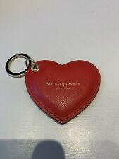New Aspinal Of London Red Leather Keyring