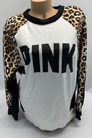 NWT victoria's Secret PINK long Sleeve Animal Print Pullover Sweatshirt Size S