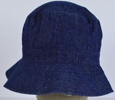 Blue denim jean inside flower design  bucket hat cap fitted