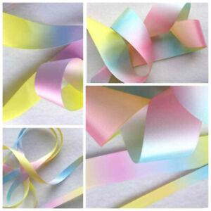 1m x  9, 12, 15, 25, 38mm Pastel Rainbow Unicorn Ribbon Pink Blue & Lemon Ombre