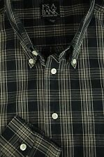 Jos A Bank Men's Black & Taupe Plaid Cotton Casual Shirt L Large