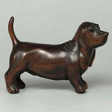 "1940's Japanese handmade Boxwood Wood Netsuke ""DACHSHUND DOG"" Figurine Carving"