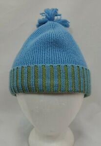 Neve Designs Womens Wool Knit Pom Winter Beanie Ski Hat Cap Blue Fleece Lined