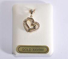 Anhänger Herz Gold 333 - Massiv - Gelbgold 333 - Mit Zirkonia Steinen - TOP !!
