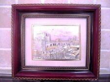 Jerusalem Holy City Walls Israel Embossment Etched Engraving Relief Art. Framed.