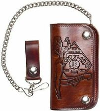 Lucky 13 No Riders Pinup Chain Antique Embossed Brown Leather Biker Punk Wallet