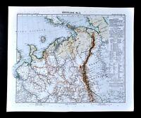 1911 Stieler Map Russia Arctic Urals Kolgujew Archangelsk White Sea Parma Mesen