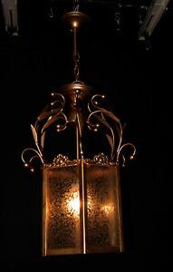 Vintage mid-century 1950s large gilt brass arts & crafts 6-panel hall lantern