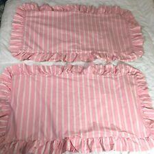 2 Ralph Lauren Pink Striped King Pillow Shams Vintage Ruffled Edge Cases