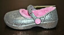 Crocs Girls' Karin Silver Sparkle Fuzz-Lined Mary Jane Clog - Size 7 Toddler