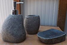 Set bathroom stone composed of dispenser soap dish toothbrush wc acessories