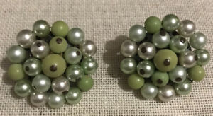 Vintage Green Beaded Clip Earrings