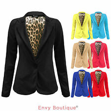 LADIES WOMENS ONE BUTTON FRONT ANIMAL LINING PRINTED STRIPE BLAZER COAT JACKET