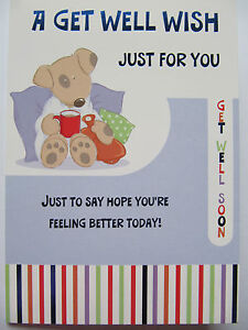 COLOURFUL PUPPY PATIENT & WATER BOTTLE GLOSS COATED GET WELL GREETING CARD