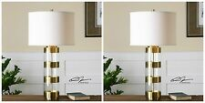 TWO NEW LARGE BRUSHED BRASS & ACRYLIC TABLE LAMP CRYSTAL BASE LINEN SHADE LIGHT