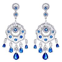 Thick 18K White Gold GF Made With SWAROVSKI Crystal Bohemian Chandelier Earrings