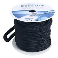 Black 5/8 Inch 50 Feet Double Braid Nylon Dock Line Mooring Rope Double Braided