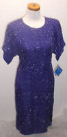 Vintage 1980s Swee Lo Purple Silk Beaded Cocktail Party Formal Dress Small 6-8