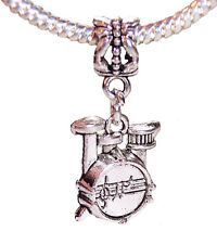 Drum Set Band Drummer Music Dangle Bead Gift for Silver European Charm Bracelets