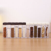 Seasoning Rack Spice Pots Acrylic Box Storage Container Condiment Jar Tool Set