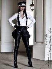 Lederhose Leder Hose Schwarz Zipper Breeches Größe 32 - 58 XS - XXXL