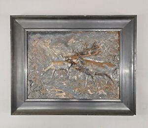 99838058 Reliefbild Röhrender Hirsch 1.H.20.Jh.  Metallguss gerahmt  54x43cm