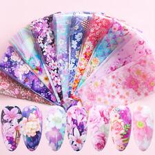 10 Pcs 20X4cm Cute Flower Nail Foil Sticker Transfer Film Manicure home DIY