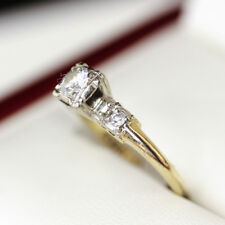 Vintage Handmade Diamond Engagement ring, set in 14ct Yellow and White Gold.