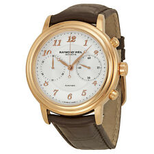 Raymond Weil Maestro Chronograph Brown Leather Mens Watch 4830-PC5-05658