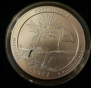 2013 ATB 5 OZ .999 SILVER QUARTER FORT MCHENRY BURNISHED IN BOX+COA
