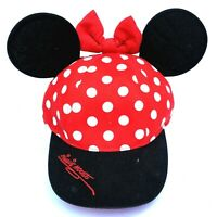 Walt Disney Minnie Mouse Red Black Poka Dot 100% Cotton Adjustable Cap Hat Youth