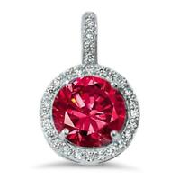 2.5 ct. Ruby & White Sapphire Halo Pendant Necklace in Solid Sterling Silver