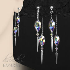 Long Sterling Silver Swarovski Crystal AB Chain Drop Dangly Front Back Earrings