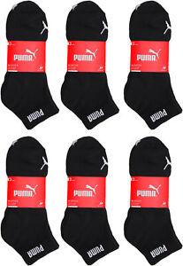 6-18 Paar Herren Damen Puma Quarter Socken Sneakersocken schwarz Größen: 35-49